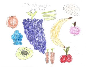 a colorful thankyou note.