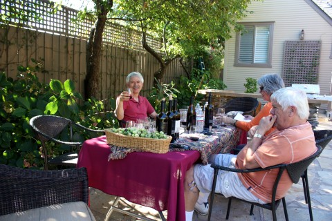 On the patio with Barry and Phyllis of Chateau Felice Wines