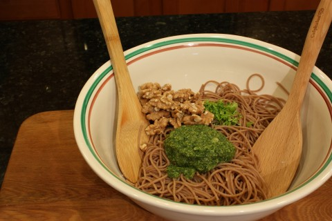mix in the pesto, parsley and walnuts