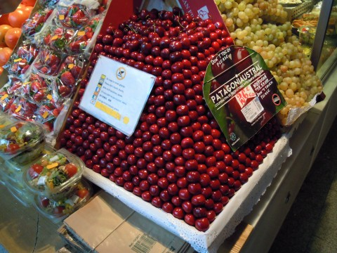 Stacked cherries at Mercado de San Miguel