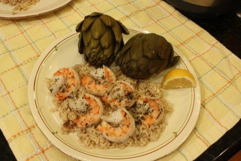 Scampi on rice with artichokes. Yum!