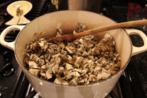 cooking mushrooms in a LeCruset pot