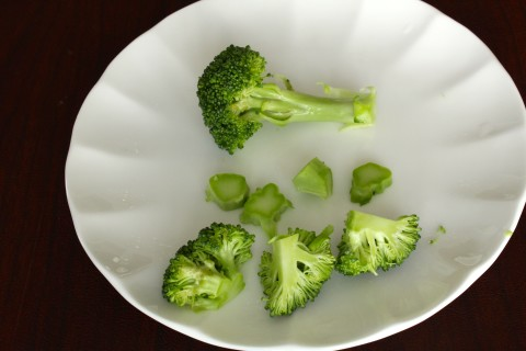 Cut broccoli into florets then small like these.