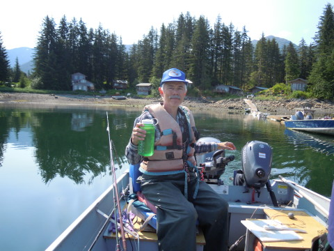 Me happily running a boat in Alaskan waters again.