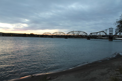 Railroad bridge over the Missouri River in Pierre.