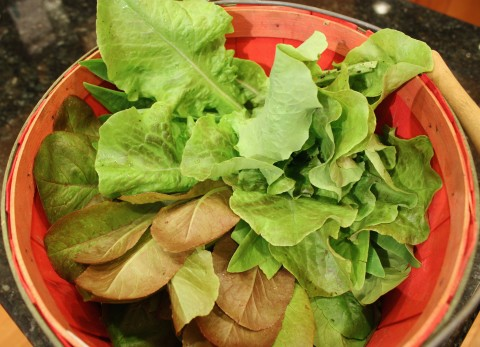 A basket of greens from last year's crop.
